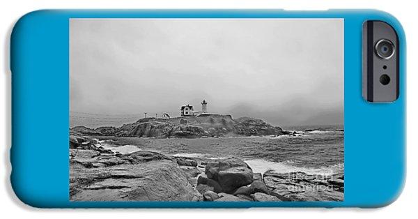 Nubble Lighthouse iPhone Cases - Bad Weather At Nubble iPhone Case by Marcel  J Goetz  Sr