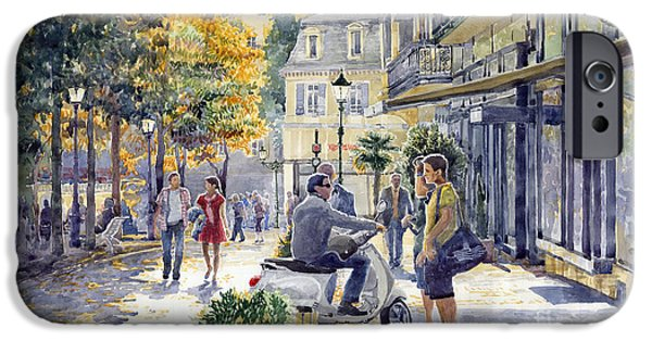 People iPhone Cases - Baden-Baden Sophienstr Last Warm Day iPhone Case by Yuriy  Shevchuk