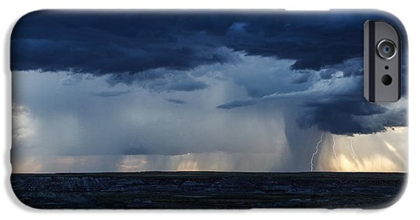 Petrified Forest Arizona iPhone Cases - Badlands Monsoon iPhone Case by James Marvin Phelps
