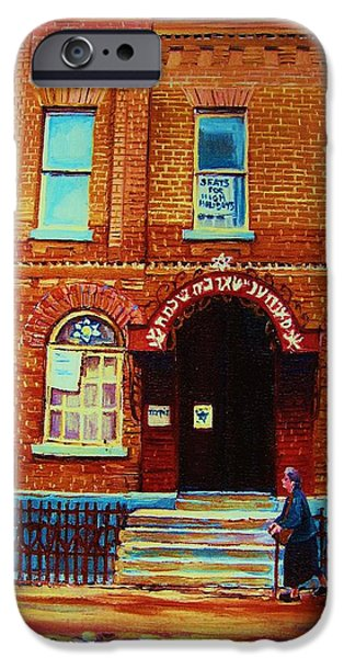 Lubavitcher iPhone Cases - Bagg Street Synagogue iPhone Case by Carole Spandau