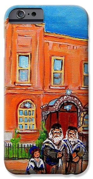 Lubavitcher iPhone Cases - Bagg Street Synagogue Sabbath iPhone Case by Carole Spandau