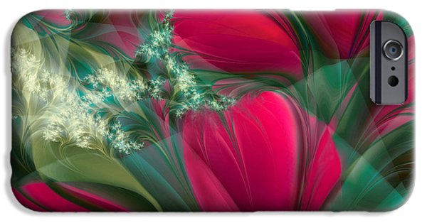 Fractal Paintings iPhone Cases - Baisers des Tulipes iPhone Case by Mindy Sommers