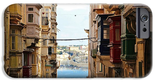 Sea View iPhone Cases - Balconies of Valletta 2 iPhone Case by Jasna Buncic