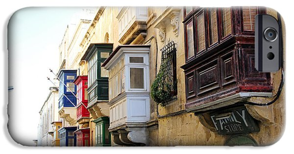 Sea View iPhone Cases - Balconies of Valletta 3 iPhone Case by Jasna Buncic