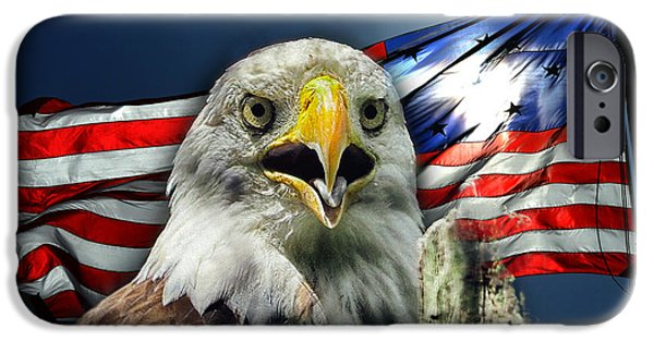 United States iPhone Cases - Bald Eagle and American Flag Patriotism iPhone Case by Bill Swartwout