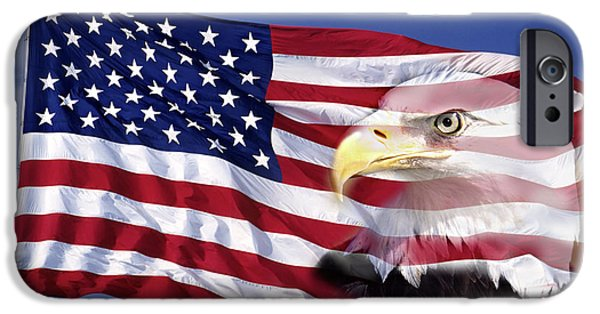 Power iPhone Cases - Bald Eagle On Flag iPhone Case by Panoramic Images