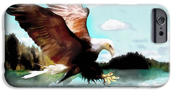 4th July Paintings iPhone Cases - Bald Eagle Painting Watercolor Fine Art Print iPhone Case by Vya Artist