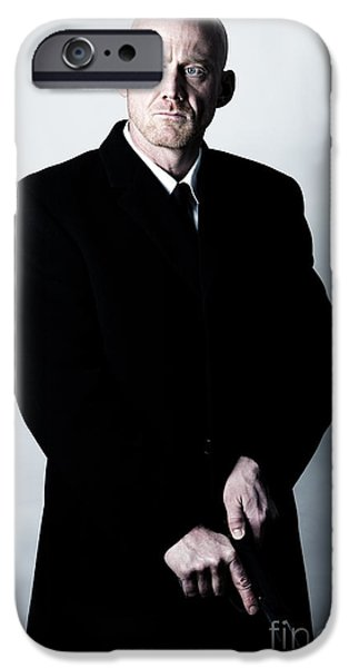 Cut-outs iPhone Cases - Bald Headed Man Wearing Heavy Black Overcoat Cocking Automatic Handgun Model Released Image iPhone Case by Joe Fox