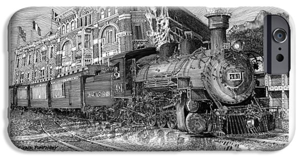 Us Open Drawings iPhone Cases - Baldwin 481   2 8 2   Narrow Gauge Steam Locomotive iPhone Case by Jack Pumphrey