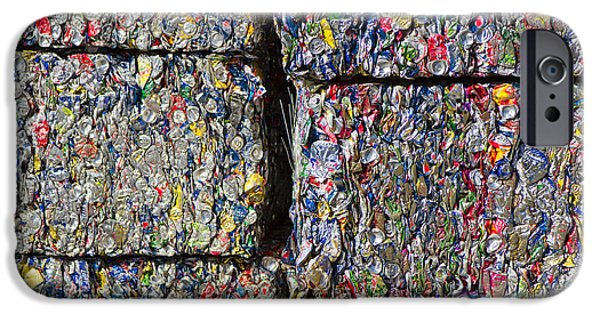Aluminum iPhone Cases - Bales of Aluminum Cans iPhone Case by David Buffington