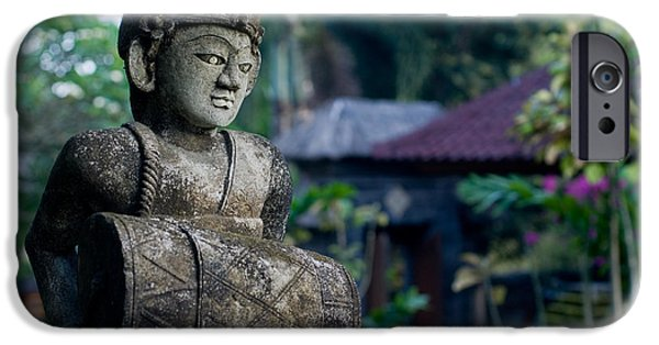 Stone Carving iPhone Cases - Balinese Drummer iPhone Case by Nila Newsom