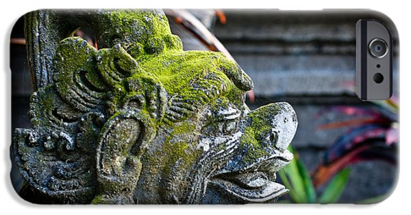 Stone Carving iPhone Cases - Balinese Statue iPhone Case by Nila Newsom