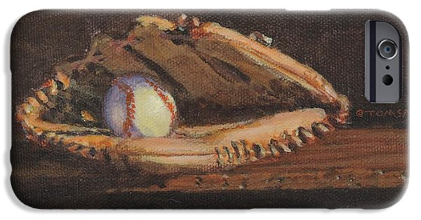 Old Pitcher Paintings iPhone Cases - Ball and Glove iPhone Case by Bill Tomsa