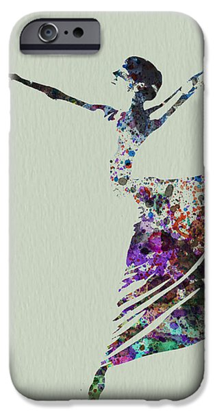 Relationship Paintings iPhone Cases - Ballerina dancing watercolor iPhone Case by Naxart Studio