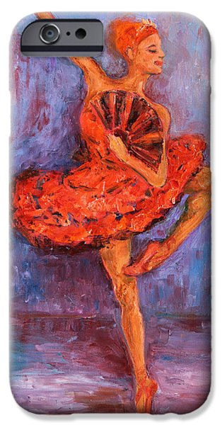 Ballet Dancers iPhone Cases - Ballerina Dancing with a Fan iPhone Case by Xueling Zou