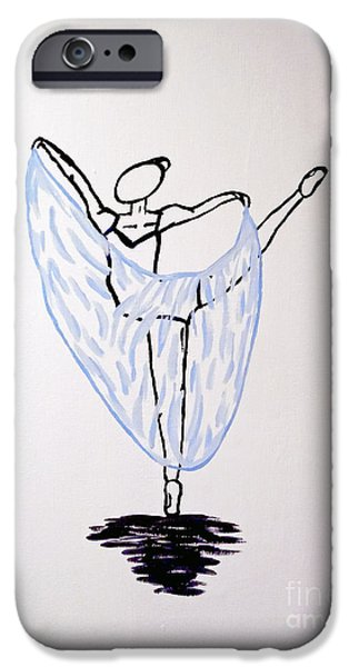 Ballet Dancers iPhone Cases - Ballerina in Blue iPhone Case by Jilian Cramb