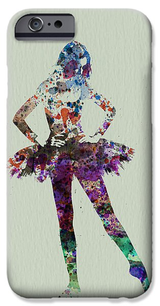 Relationship Paintings iPhone Cases - Ballerina watercolor iPhone Case by Naxart Studio
