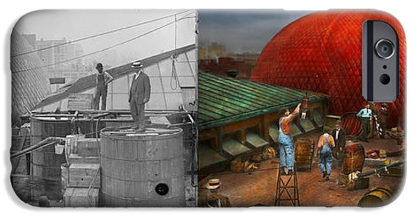 July iPhone Cases - Balloon - Filling balloon on Wanamakers  - 1911 - Side by Side iPhone Case by Mike Savad