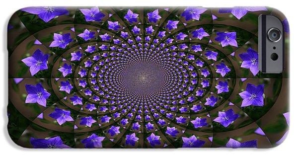Balloon Flower iPhone Cases - Balloon Flower Kaleidoscope iPhone Case by Teresa Mucha