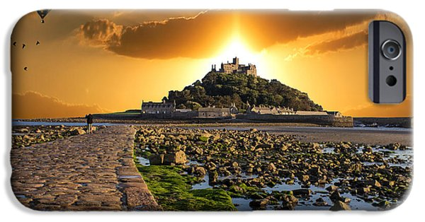 Balloon iPhone Cases - Ballooning over St Michaels Mount iPhone Case by Martin Newman