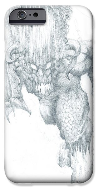 Jrr iPhone Cases - Balrog Sketch iPhone Case by Curtiss Shaffer