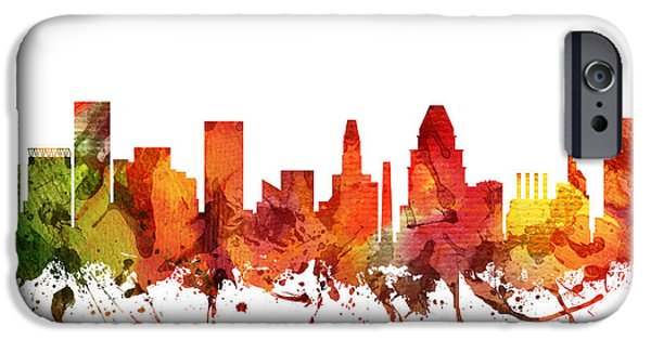 Baltimore iPhone Cases - Baltimore Cityscape 04 iPhone Case by Aged Pixel