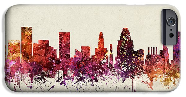 Baltimore iPhone Cases - Baltimore Cityscape 09 iPhone Case by Aged Pixel