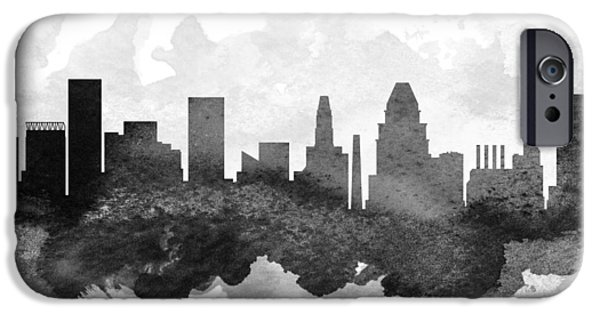 Baltimore iPhone Cases - Baltimore Cityscape 11 iPhone Case by Aged Pixel