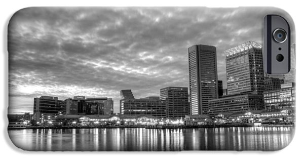 Baltimore iPhone Cases - Baltimore in Black and White iPhone Case by JC Findley