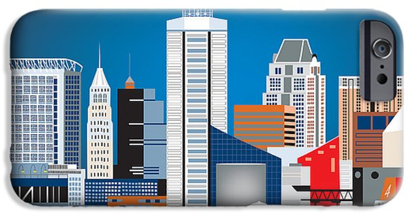 Cute Illustration iPhone Cases - Baltimore Maryland Horizontal Skyline by Loose Petals iPhone Case by Karen Young