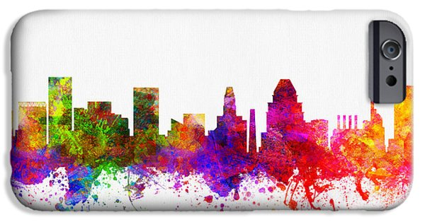 Baltimore iPhone Cases - Baltimore Maryland skyline color02 iPhone Case by Aged Pixel
