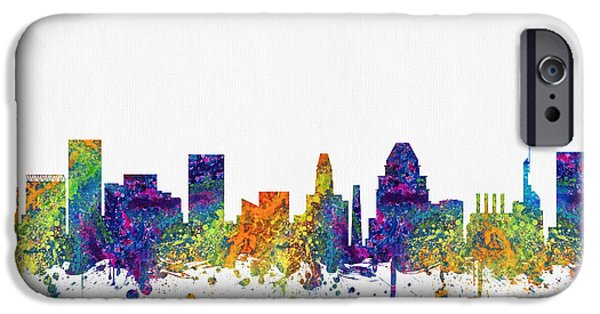 Baltimore iPhone Cases - Baltimore Maryland skyline color03 iPhone Case by Aged Pixel