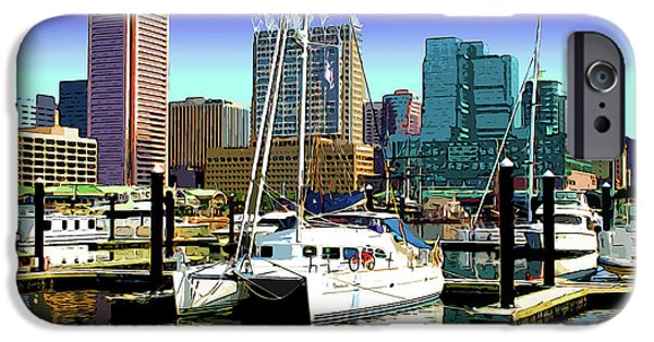 Inner World iPhone Cases - Baltimores Inner Harbor iPhone Case by Stephen Younts