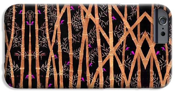 Bamboo Leaves iPhone Cases - Bamboo forest at night iPhone Case by Sumit Mehndiratta