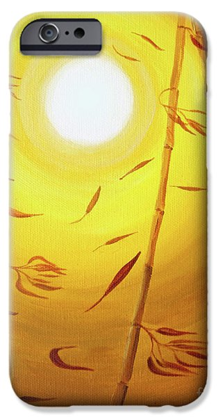 Buddhist Paintings iPhone Cases - Bamboo in the Wind iPhone Case by Laura Iverson