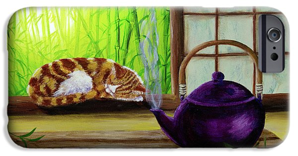 Orange Tabby iPhone Cases - Bamboo Morning Tea iPhone Case by Laura Iverson