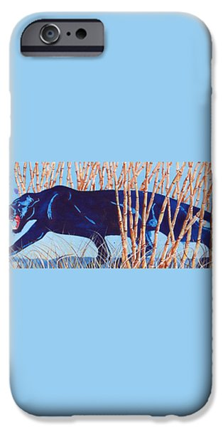 Bamboo Panther iPhone Case by Larry  Johnson