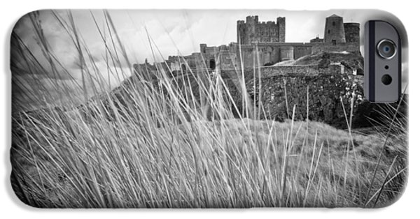 Sand Castles iPhone Cases - Bamburgh Dunes mono iPhone Case by Wilson Photographics