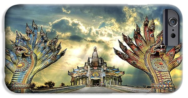 People Sculptures iPhone Cases - Ban rai temple , A beautiful temple in Thailand iPhone Case by Kriangkrai Netnangrong