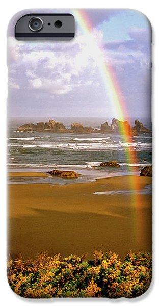 Bandon Beach Rainbow Sunrise iPhone Case by Ed  Riche