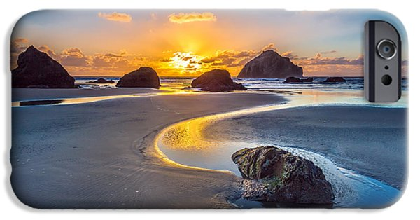 Ocean Sunset iPhone Cases - Bandon Face Rock iPhone Case by Robert Bynum