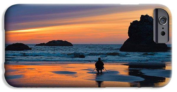 Ocean Sunset iPhone Cases - Bandon Sunset Photographer iPhone Case by Michele  Avanti