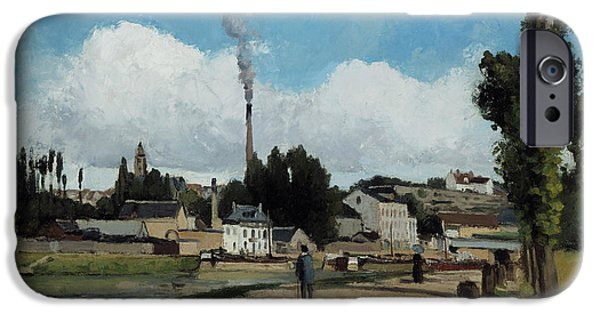 Camille Pissarro iPhone Cases - Banks of the Oise at Pontoise iPhone Case by Camille Pissarro