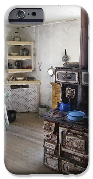 Pioneer Homes iPhone Cases - BANNACK GHOST TOWN  KITCHEN and STOVE - MONTANA TERRITORY iPhone Case by Daniel Hagerman