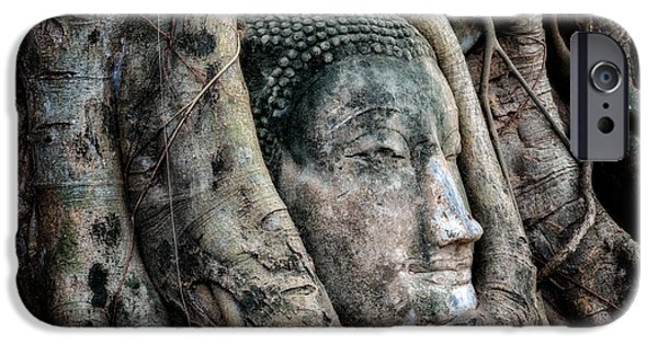 Ruins iPhone Cases - Banyan Tree Buddha iPhone Case by Adrian Evans