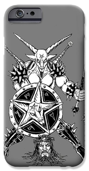 Religious Drawings iPhone Cases - Baphomet Mace Weilder iPhone Case by Alaric Barca