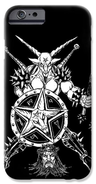 Religious Drawings iPhone Cases - Baphomet Mace Weilder Black iPhone Case by Alaric Barca
