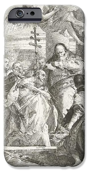 Baptism Paintings iPhone Cases - Baptism of Constantine the Great  iPhone Case by Giovanni Domenico Tiepolo