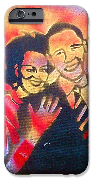 Michelle Obama Paintings iPhone Cases - Barack BLACK Love iPhone Case by Tony B Conscious