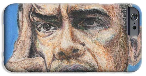 President Obama Drawings iPhone Cases - Barack Obama - President Of United States Of America iPhone Case by Yoshiko Mishina